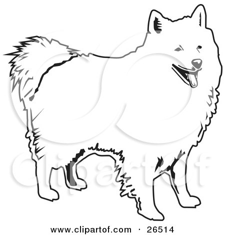 Clipart Illustration of a Friendly American Eskimo Standing, Black And White by David Rey