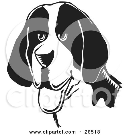 Clipart Illustration of a Friendly American Foxhound Dog Hanging Its Tongue Out, Black And White by David Rey