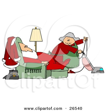 Clipart Illustration of Mrs Claus Vacuuming The Living Room As Santa Sleeps In A Lazy Chair by djart
