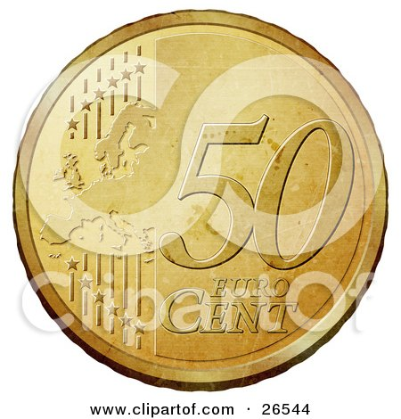 Clipart Illustration of a Gold 50 Cent Euro Coin With A Map And Stars by beboy