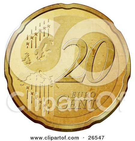 Clipart Illustration of a Gold 20 Cent Euro Coin With A Map And Stars by beboy