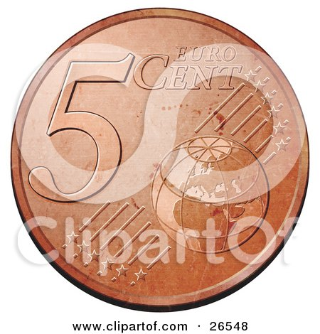 Clipart Illustration of a Bronze 5 Cent Euro Coin With A Globe And Stars by beboy