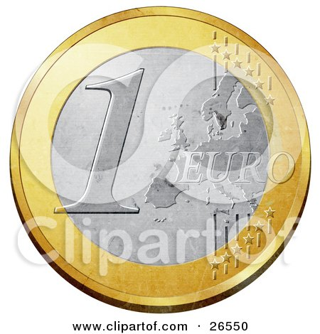 Clipart Illustration of a Gold And Silver 1 Euro Coin With A Partial Map And Stars by beboy