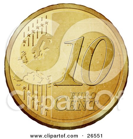 Clipart Illustration of a Gold 10 Cent Euro Coin With A Map And Stars by beboy