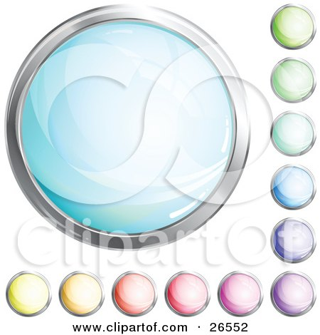 Clipart Illustration of a Collection Of Shiny Blue, Green, Purple, Pink, Red, Orange And Yellow Internet Buttons by beboy