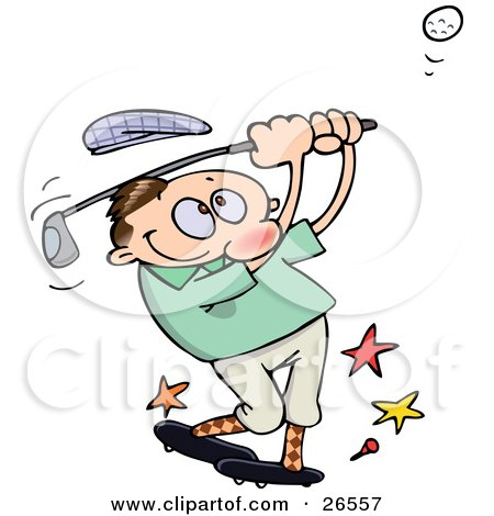 Clipart Illustration of a Male Caucasian Athlete Knocking His Hat Off As He Whacks A Golf Ball With A Club by gnurf