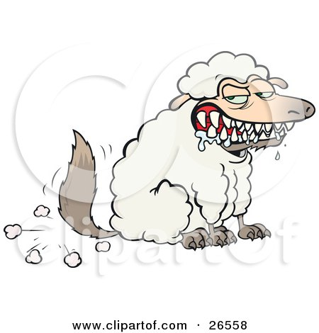Clipart Illustration of a Hungry Drooling Wolf In Sheeps Clothing, Symbolizing Fraud, Evil And Deceit by gnurf