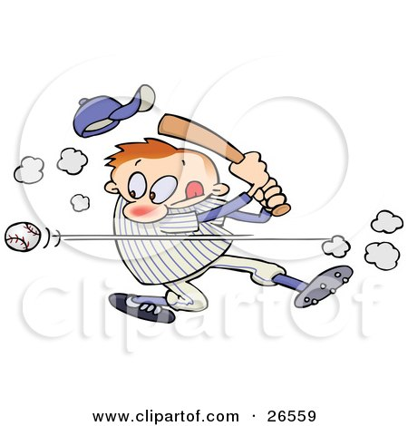 Clipart Illustration of a Male Caucasian Athlete Knocking His Hat Off As He Whacks A Baseball With A Bat During A Game by gnurf