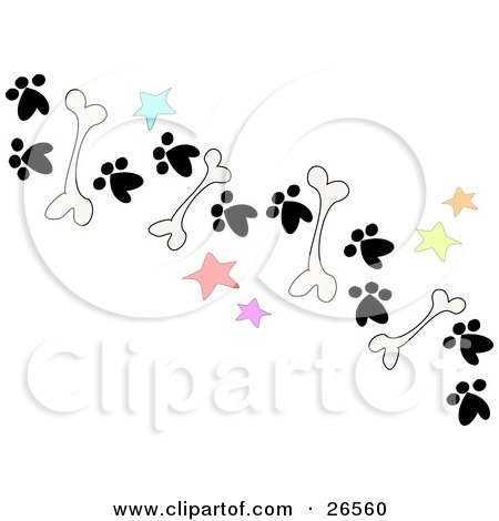 Clipart Illustration of a Trail Of Dog Bones, Stars And Paw Prints On The Ground by bpearth