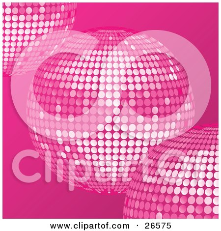 Clipart Illustration of Three Pink Disco Mirror Balls Over A Pink Background by elaineitalia