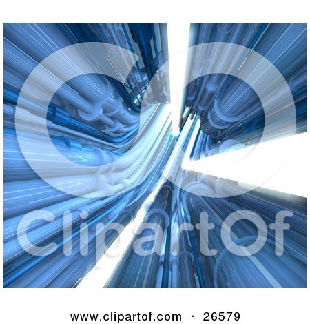 Clipart Illustration of a Background Of Blue Pipes And Bright White Lights In A Tunnel by AtStockIllustration