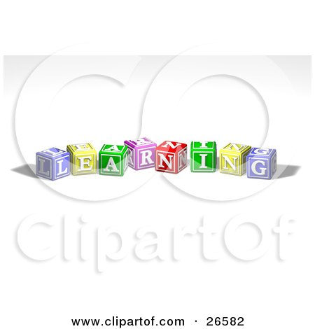 Clipart Illustration of a Row Of Colorful Red, Yellow, Green, Pink And Red Toy Alphabet Blocks Spelling Out LEARNING by AtStockIllustration