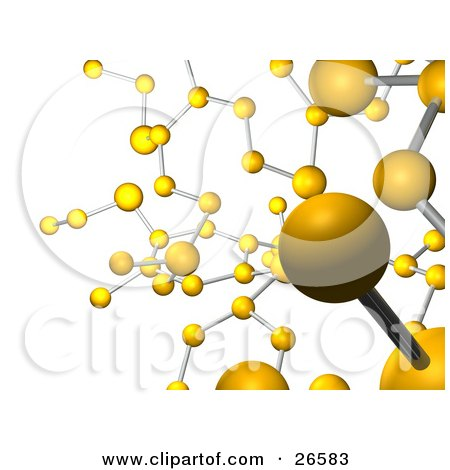Clipart Illustration of a Background Of Yellow Molecules Connected By Silver Bars, Over White by AtStockIllustration
