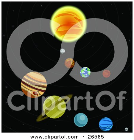 Clipart Illustration of Various Colorful Planets Circling Around A Sun In A Solar System In Outer Space by AtStockIllustration