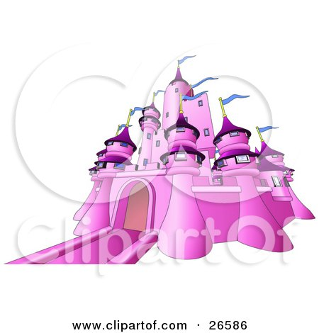 Clipart Illustration of a Pink Fairy Tale Castle With Blue Flags Waving From The Towers, Over White by AtStockIllustration