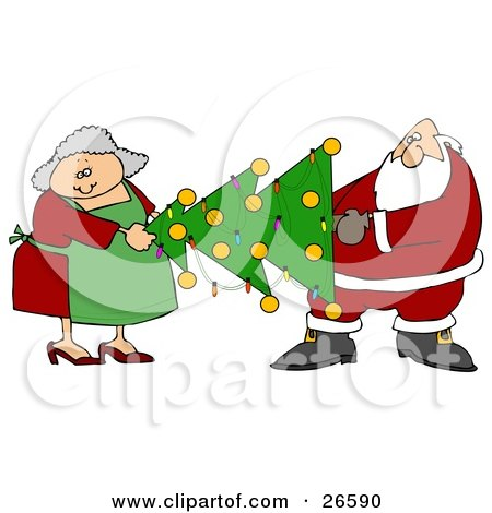 Clipart Illustration of Mrs Claus Helping Santa Carry A Decorated Xmas Tree With Lights And Baubles by djart