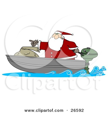 Clipart Illustration of Santa Pointing Forward While Transporting His Toy Sack In A Motor Boat by djart