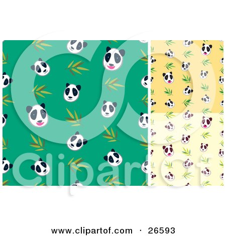 Clipart Illustration of a Group Of Green, Yellow And Tan Backgrounds Of Panda Bear And Bamboo Patterns by NoahsKnight
