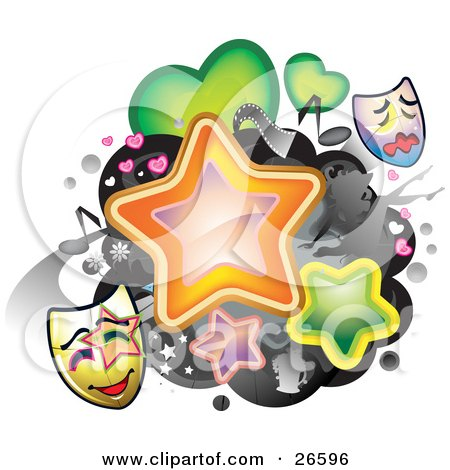 theatre mask clipart. Clipart Illustration of a