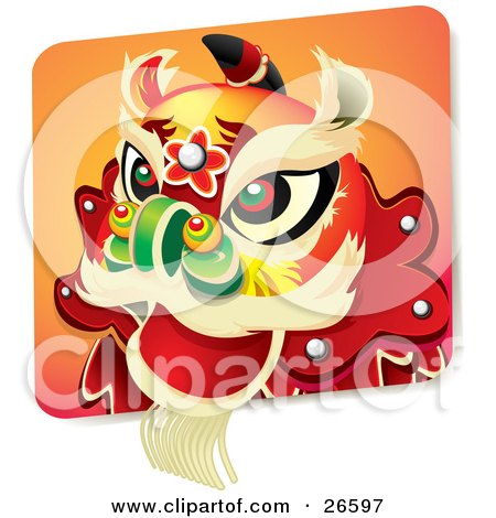 Clipart Illustration of a Chinese New Year Lion Dance Head Costume With Green, Red And Black Eyes And A Green Nose by NoahsKnight