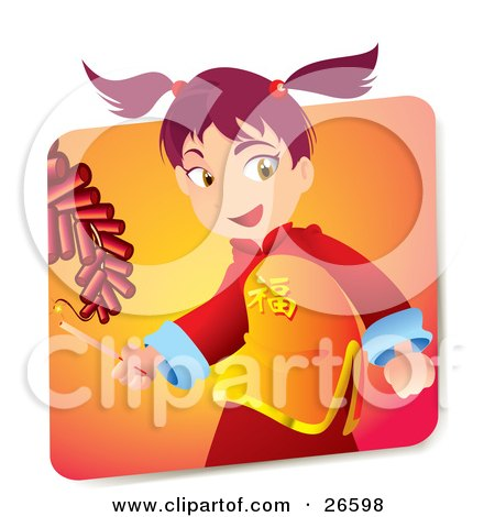 Clipart Illustration of a Pink Haired Japanese Girl In Cultural Clothes, Holding A Lighter And Igniting Firecrackers on New Years by NoahsKnight