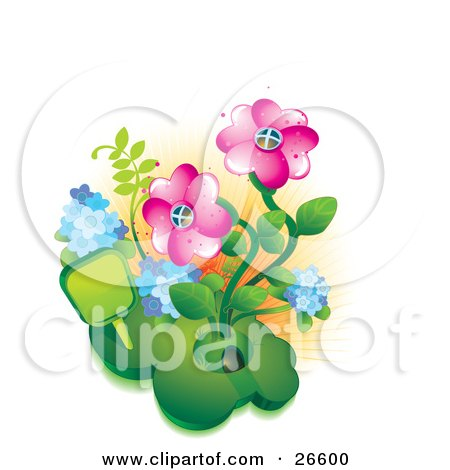 Clipart Illustration of a Unique Home Made Of A Mound Of Grass With Two Pink Flowers In A Garden by NoahsKnight