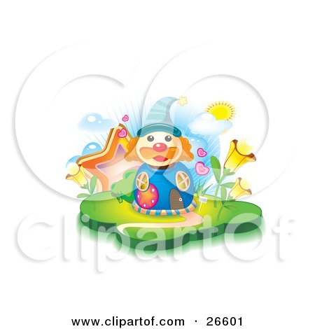Clipart Illustration Of A Clown Shaped Blue House With Circular Windows Hearts Stars And Flowers On A Sunny Day