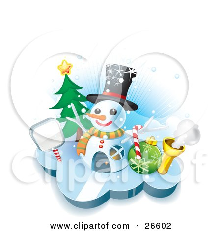 Clipart Illustration of a Winter Home In The Shape Of A Snowman Wearing A Hat, With A Sign, Tree, Candycane And Bauble by NoahsKnight