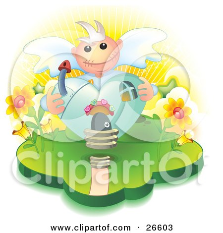 Clipart Illustration Of A Heart Shaped Angel House With A Mushroom Chimney And Flowers On The Sides