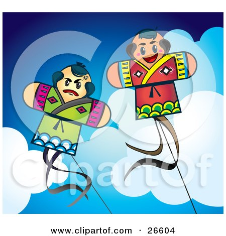Couple Of Fighting Japanese Kites Flying Above The Clouds In A Blue Sky Posters, Art Prints