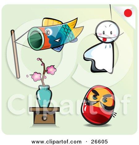Carp Fish Kite, Sheet Ghost, Sakura Bonsai And Toy Doll On A Pale Green Background Posters, Art Prints