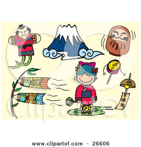 Clipart Illustration of a Fighting Japanese Kite, Mount Fuji, Doll, Carp Kites, Bell, Girl And Toys Over A Tan Background by NoahsKnight