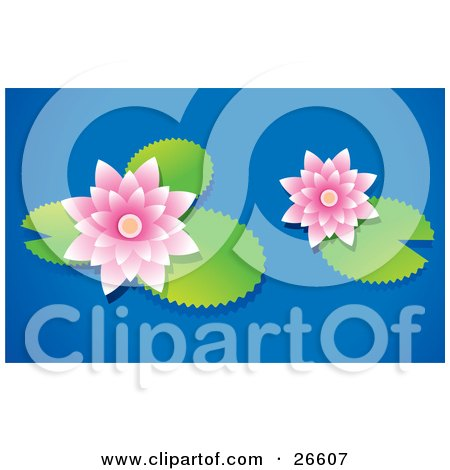 Clipart Illustration of Two Pale Pink Waterlilies Floating With Lilypads On A Blue Pond by NoahsKnight