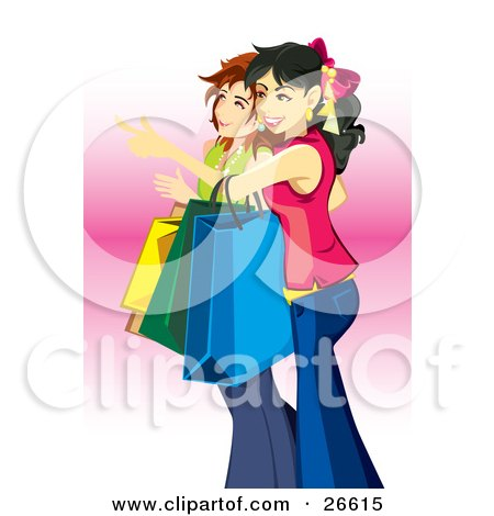Clipart Illustration of a Couple Of Young Teen Caucasian Girls Carrying Bags And Shopping by NoahsKnight