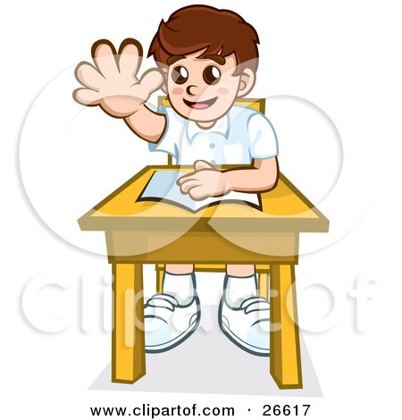 Clipart Illustration of a Little School Boy Sitting At His Desk With A Book And Raising His Hand To Ask Or Answer A Question by NoahsKnight