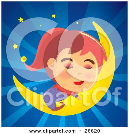 Clipart Illustration of a Relaxed Girl In Pajamas, Sleeping Soundly On A Crescent Moon In A Bursting Blue Night Sky by NoahsKnight