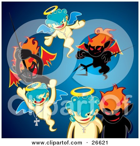 Clipart Illustration Of A Group Of Black Evil Devils Attacking Innocent Angels With Pitchforks Over Blue