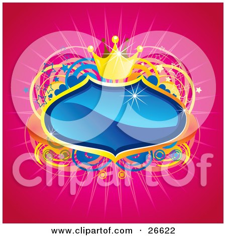 Clipart Illustration of a Blue Crest With Golden Borders And A Crown, Over A Star, Heart And Circle Background On Pink by NoahsKnight