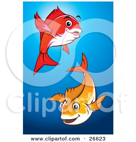 Royalty free rf fish pond clipart illustrations vector for Happy fish swimming