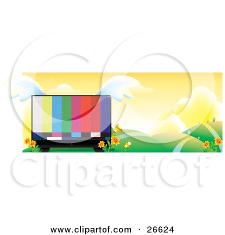 Clipart Illustration of a Large Flat Screen Tv With Colorful Bars On The Monitor With Wings, Nestled In Yellow Flowers In A Landscape Of Rolling Hills And Paths by NoahsKnight