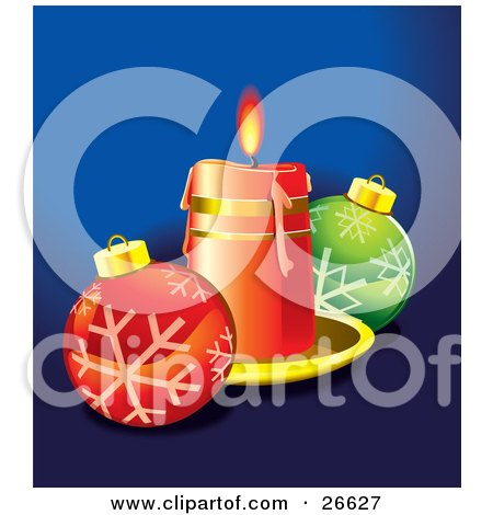 Clipart Illustration of a Red Candle On A Tray, Casting Light On Red And Green Christmas Ornaments With Snowflake Designs, Over Blue by NoahsKnight