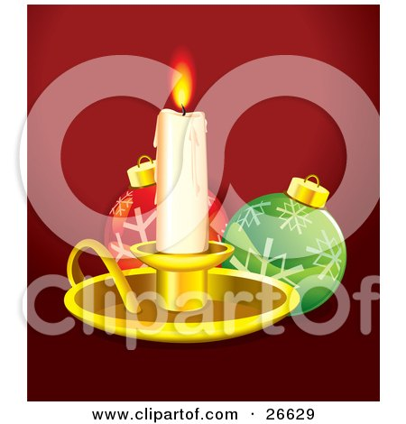Clipart Illustration of a Melting Lit Candlestick In A Golden Tray, Casting Light On Red And Green Christmas Ornaments With Snowflake Designs, Over Red by NoahsKnight