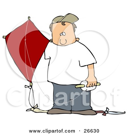 White Boy In A Hat And Casual Clothes, Standing Outdoors With A Red Kite On A Windy Day Posters, Art Prints