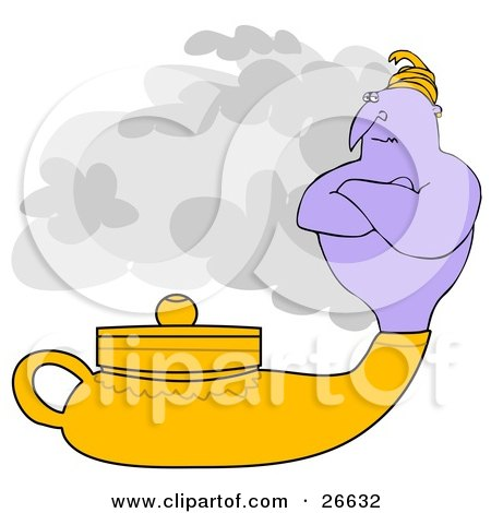 Clipart Illustration of a Genie Emerging From A Golden Lamp, Waiting For His Master To Ask For His Three Wishes by djart
