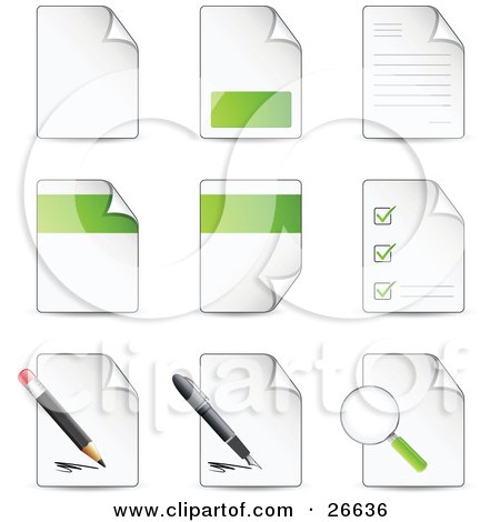 Clipart Illustration of a Collection Of Nine Letters And Files With Check Lists, Magnifying Glasses, Pens And Pencils by beboy