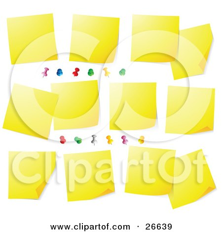 Clipart Illustration of a Bulletin Board Covered In Blank Yellow Sticky Notes And Colorful Push Pins by beboy