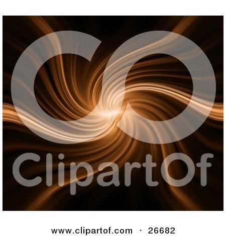 Clipart Illustration of a Spiraling Burst Of Orange Light Over A Black Background by KJ Pargeter