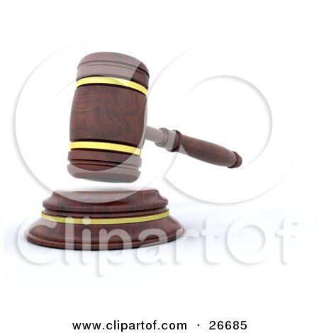Clipart Illustration of a Wooden Judge's Gavel Hitting The Block by KJ Pargeter
