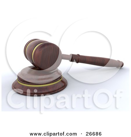 Clipart Illustration of a Wooden Judge's Gavel Resting On The Block by KJ Pargeter