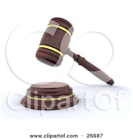 Clipart Illustration of a Wooden Judge's Gavel Banging Down On The Block by KJ Pargeter